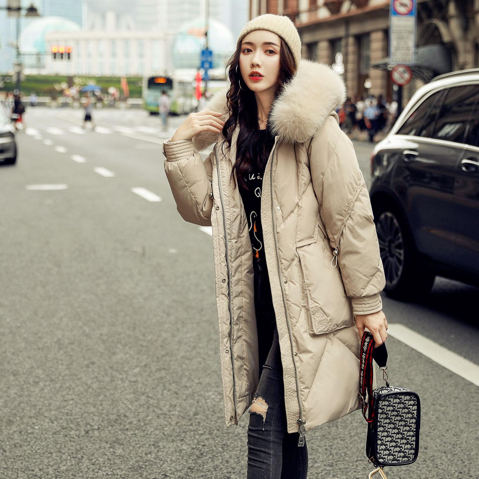 羽绒服女中长款2020新款女装时尚韩版宽松白鸭绒 加 厚真毛领