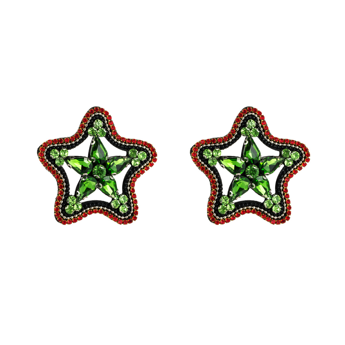 Fashion flannel acrylic studded five-pointed star earrings NHJE142118
