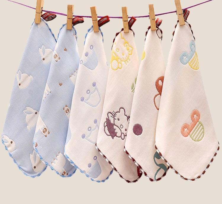 手帕用品小纯棉纱洗澡巾新生儿童巾毛巾婴儿6层纱布四方沙家用bb