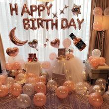男朋友女孩過生日趴快樂party裝飾品派對氣球場景布置背景墻