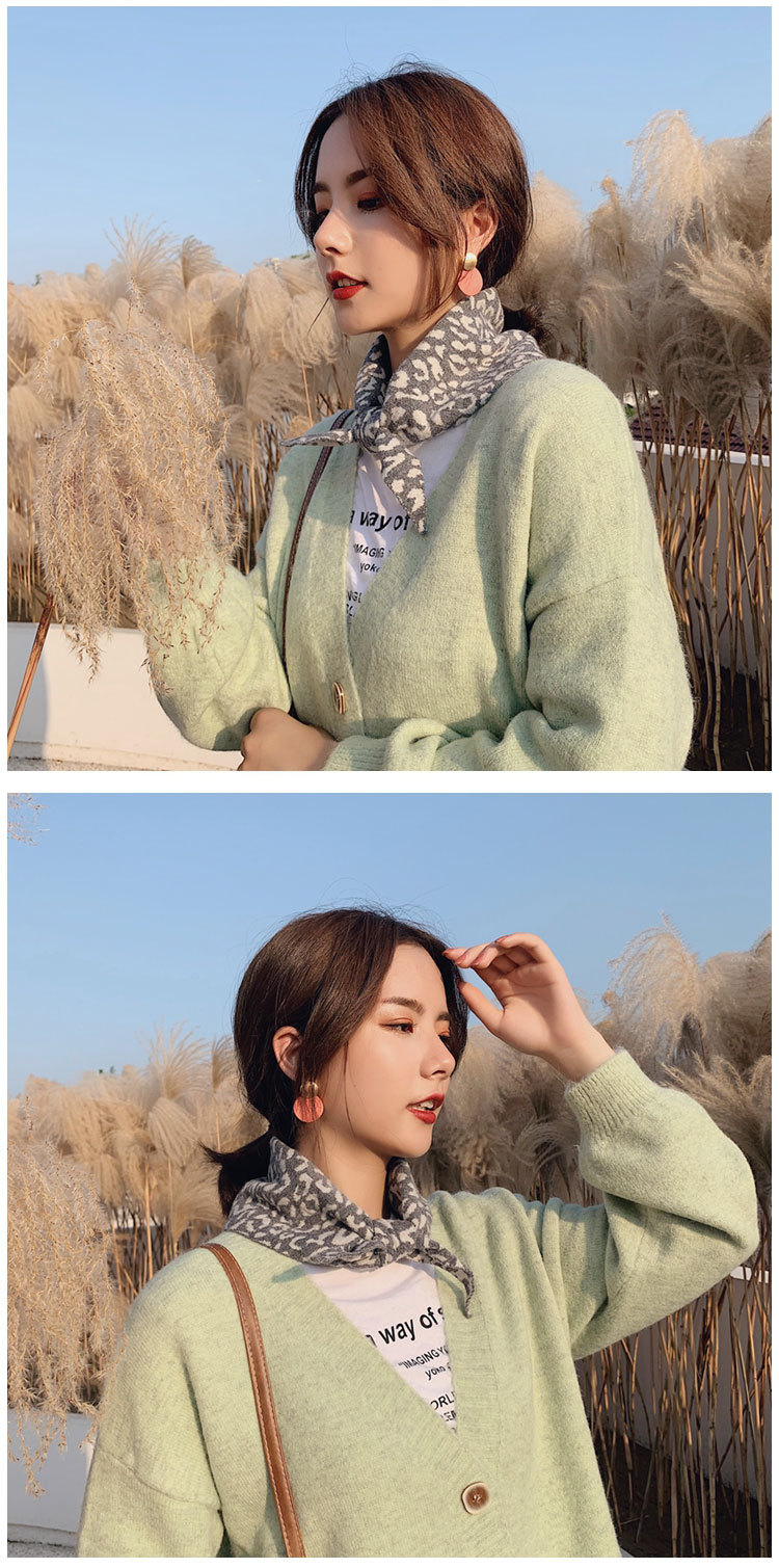 Korean version of double-knit woolen scarf warm two-color scarf NHMN151707