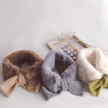 韓國仿貂毛拼接交叉套口兒童圍巾百搭男女寶寶保暖小領巾圍巾