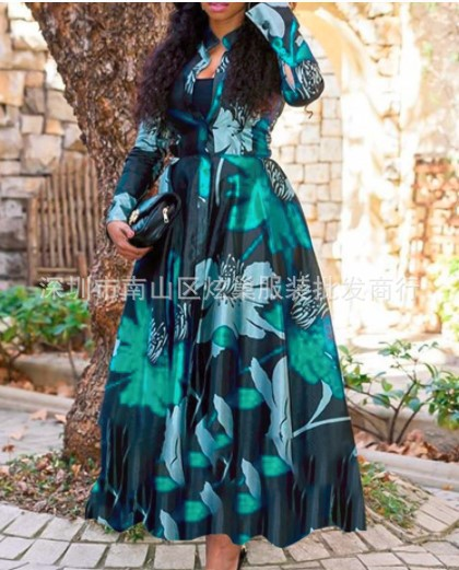 Large-Size Color Long-Sleeved Stand-Up Collar Printed Inflated Dress