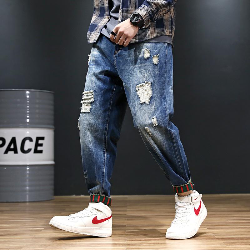 2019年春季新款加肥加大码弹力哈伦牛仔裤男小脚裤大号胖子肥佬裤