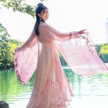 新款传统汉服女刺绣对襟上襦一片式褶裙大袖衫仙气飘飘舞台日常服