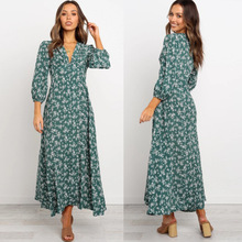 autumn and winter new V-neck pleated flared long-sleeved lace-up printed dress NSYD6007