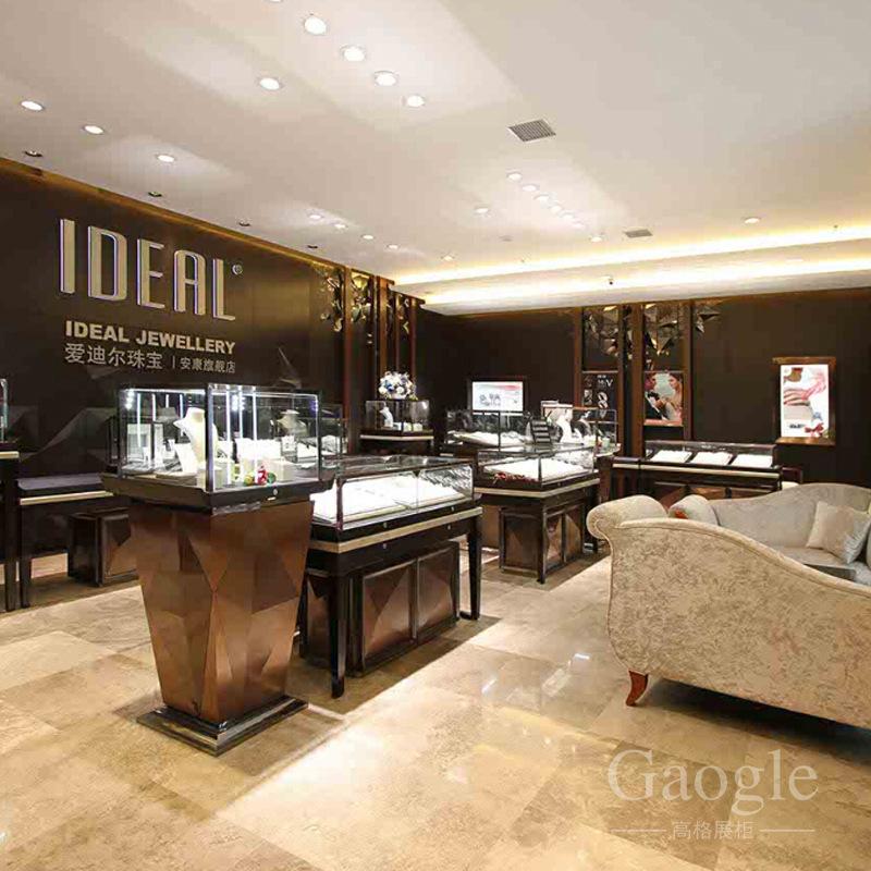 广东定做珠宝展柜 爱迪尔展示柜设计制作 烤漆展柜定做厂