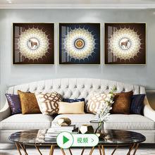 玄關裝飾畫客廳沙發背景墻輕奢餐廳菩提樹葉掛畫