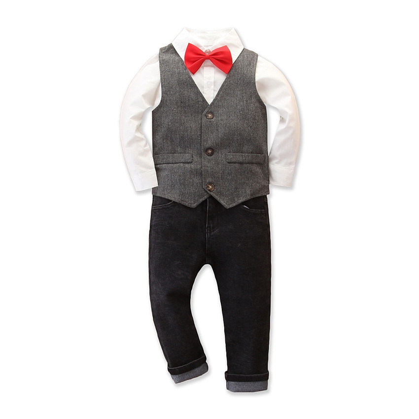 Foreign trade cross border children British style 3 pieces fashion fall new boys one year old dress vest gentleman suit