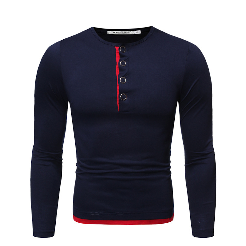 2020 Autumn/winter cross-border Amazon foreign trade man long open cylinder fake two iron button decorated round-neck long sleeve T-shirts