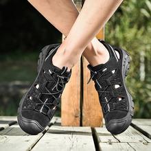 男鞋46大码春夏新款凉鞋头层牛皮厚底运动跑步鞋透气防滑休闲鞋潮