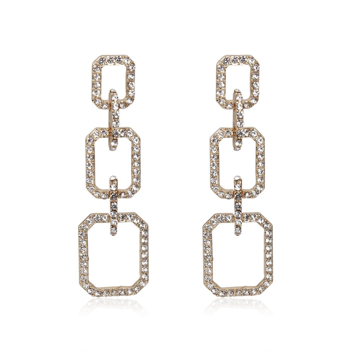 Jewelry diamond geometric earrings female creative alloy plating earrings NHXR190916