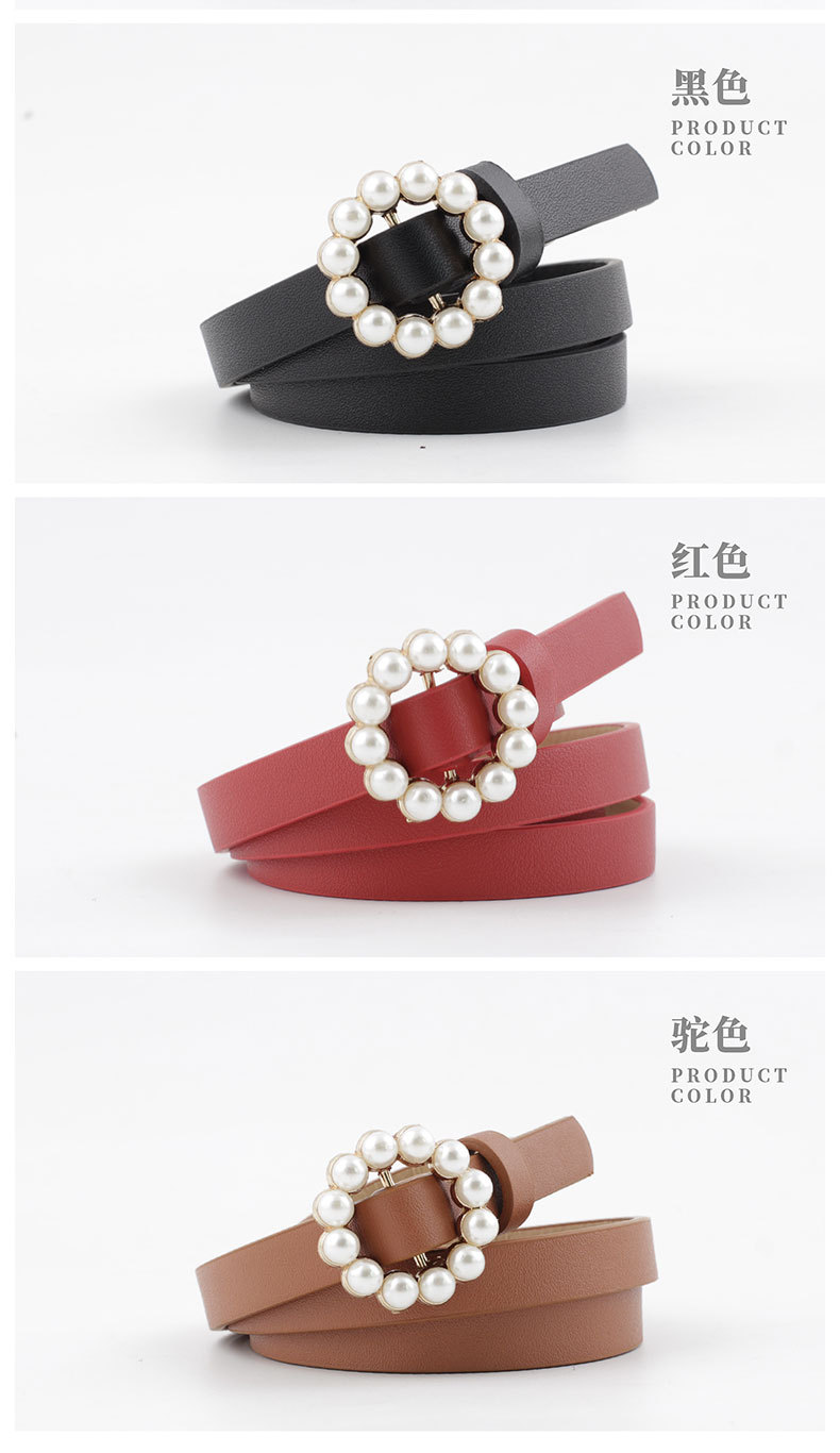 New ladies faux leather belt Korean fashion sweet belt pearl buckle decorative belt women wholesale NHPO204280