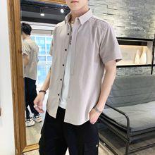 衬衫短袖男夏季上衣服男装韩版潮流帅气休闲宽松纯棉学生牛仔衬衣