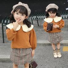 童裝女寶寶套裝2019秋新款娃娃領公主打底衫韓版衛衣毛呢裙兩件套