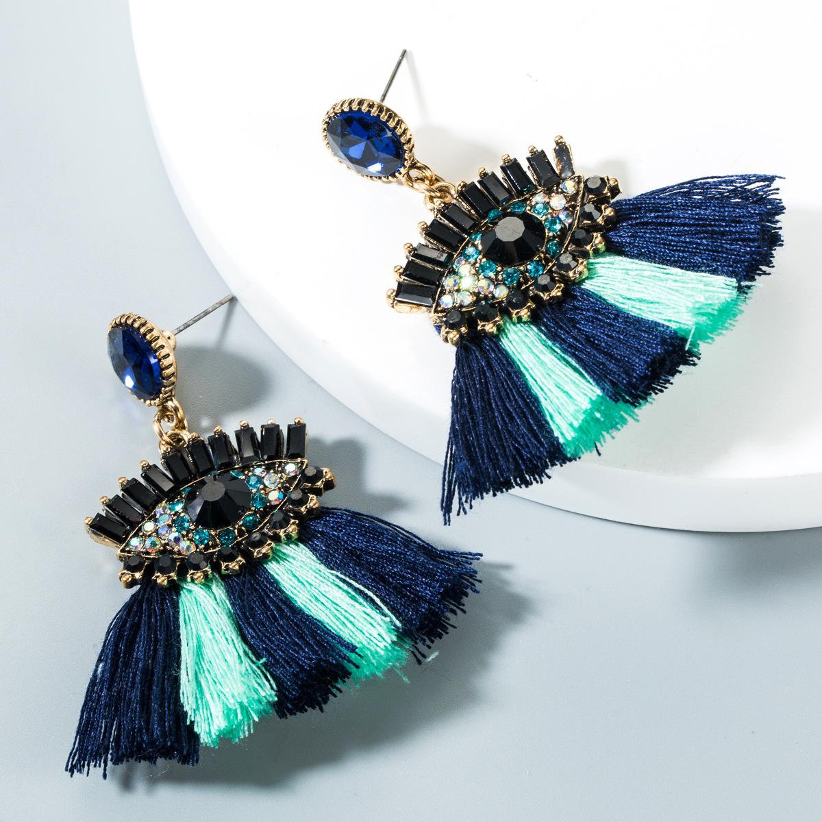 Retro eye tassel earrings NHLN151421