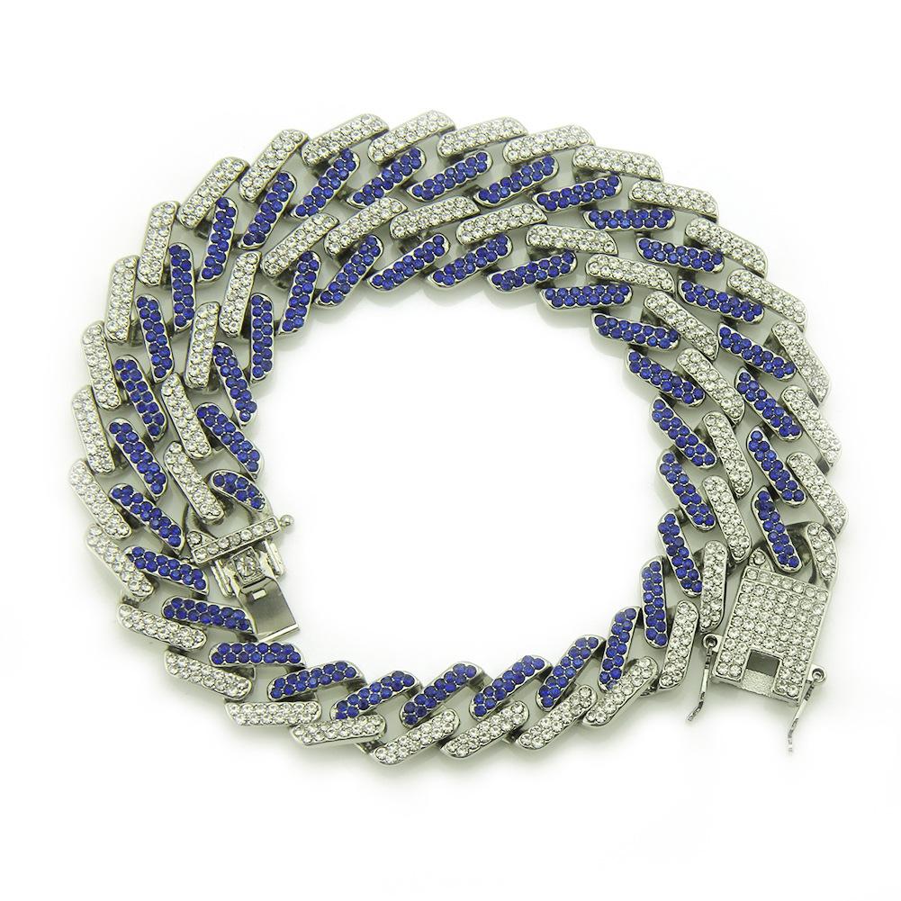 配饰新品 镶彩钻几何方形古巴链项链 夸张男士金色链子挂件