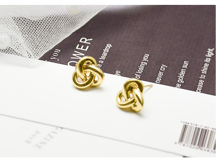 Korean titanium steel knot earrings plated with 18K real gold casting NHOK182466
