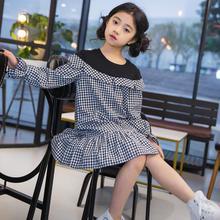 女童连衣裙儿童格子长袖荷叶边鱼尾裙中大童装假两件裙子厂家直销