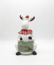 陶瓷圣诞麋鹿饼干罐 动物饼干罐储物罐糖果罐 ceramic cookie jar