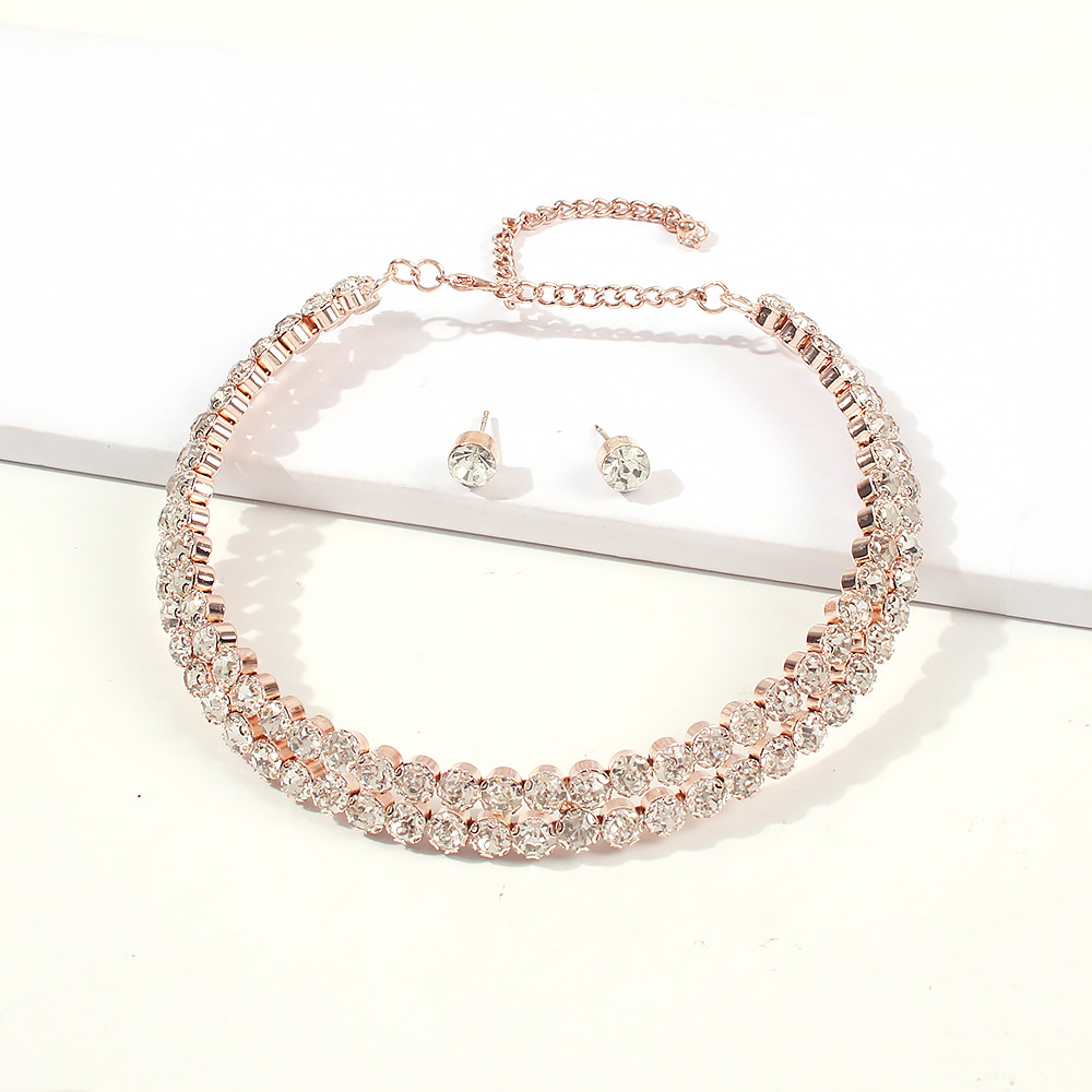 Simple necklace diamond clavicle chain fashion wild necklace earrings set NHMD189665