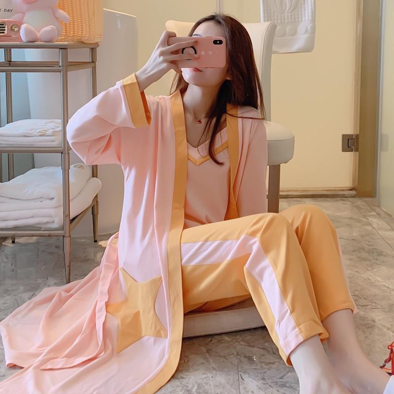 韩国睡衣女秋冬长袖纯棉吊带性感宽松大码女士家居服星星三件套装
