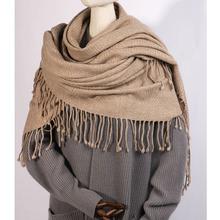 內蒙古純山羊絨出口單人字紋大披毯大披肩