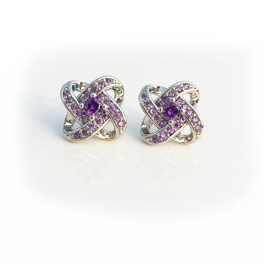 韩版气质紫水晶四叶草耳钉 白铜镀银耳针 镶钻锆石玫瑰花朵耳饰品