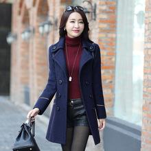 冬天韩版加棉加厚毛呢外套女收腰中长款尼子衣女装妮子大衣韩国潮