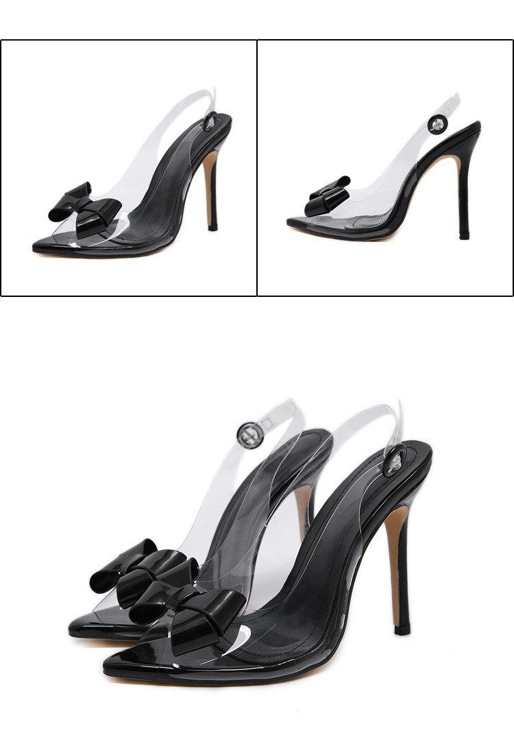 Europe and America sexy high heel bow transparent fish mouth sandals NHCA147557