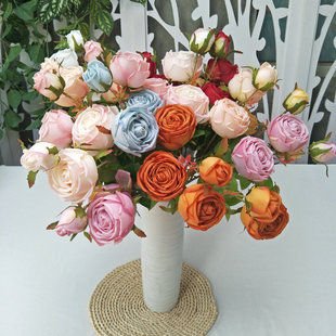 Factory wholesale three-pointed imperial concubine rose simulation bouquet wedding home living room decoration fake flowers