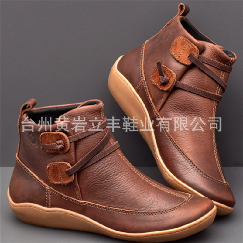 Independent Station Women European And American Autumn And Winter New Flat Bottom Martin Boots British Style Retro Short Boots Mid-heel Casual Women's Shoes
