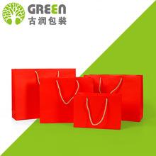廠家定制白卡紙手提袋 節慶紅色禮品袋購物袋 定做服裝白卡紙紙袋