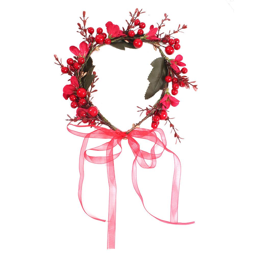 Nuevos accesorios rojos de la boda flor novia fotografía pelo aro tocado mujeres NHMD184990