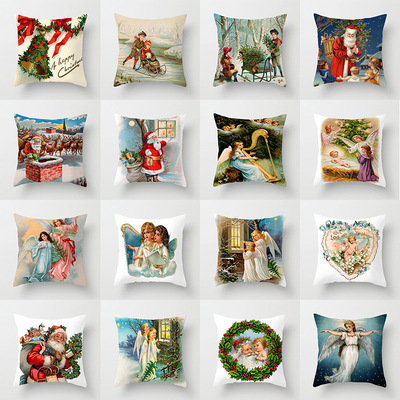 18'' Cushion Cover Pillow Case Christmas Angel Christmas man holding pillow case