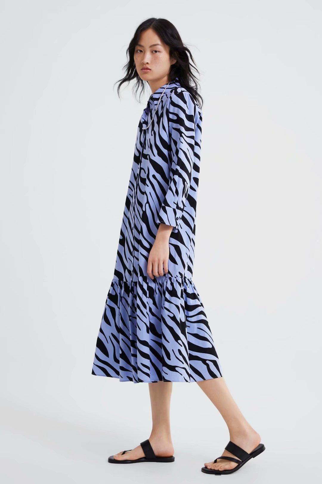 Wholesale Fashion  2019 Spring Animal Print Shirt Dress NHAM177763