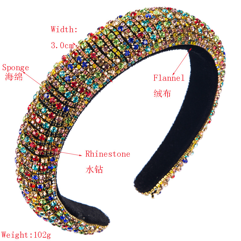 Fashion colorful diamond sponge hair hoop female wide version baroque wind headband wholesale NHLN200448