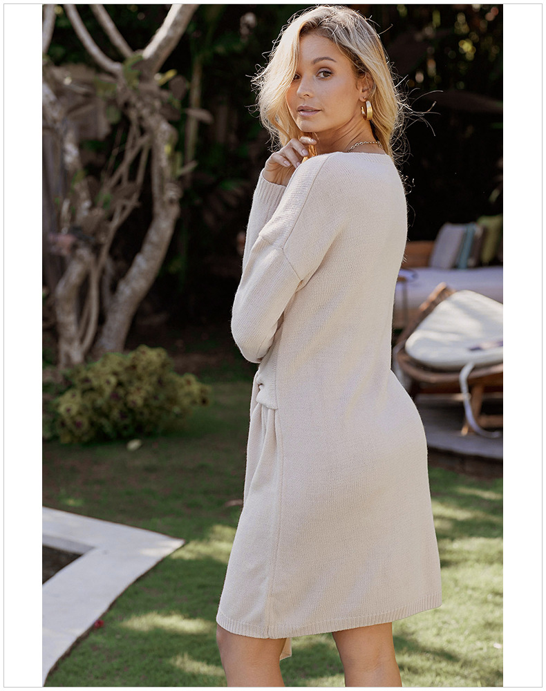 sweater casual long fashion solid color long-sleeved one-piece dress women  NSSI2426