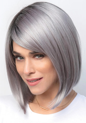 Bob Hair Wigs Perruques Bob Hair Pelucas De Cabello Bob Dyed wig Bobo head female short straight hair black gradual silver grey short hair set