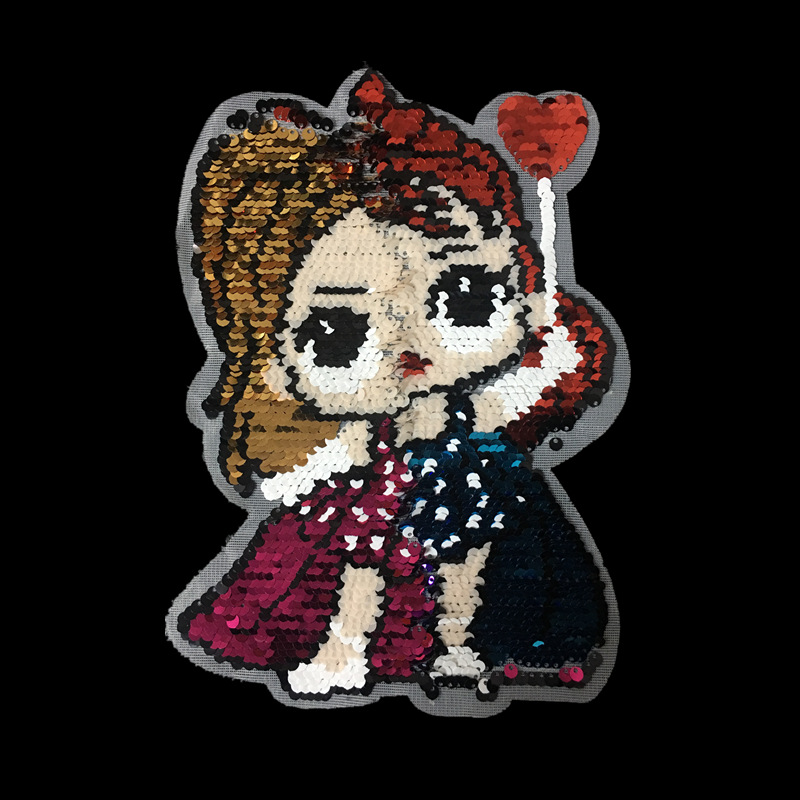 Sequin flip cartoon little princess double-sided gradient sequins children's clothing sweater decorative stickers embroidered cloth stickers NHLT184831