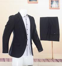 上班应聘西装男商务正装剪标西服套装职业装黑色结婚礼服新郎伴郎