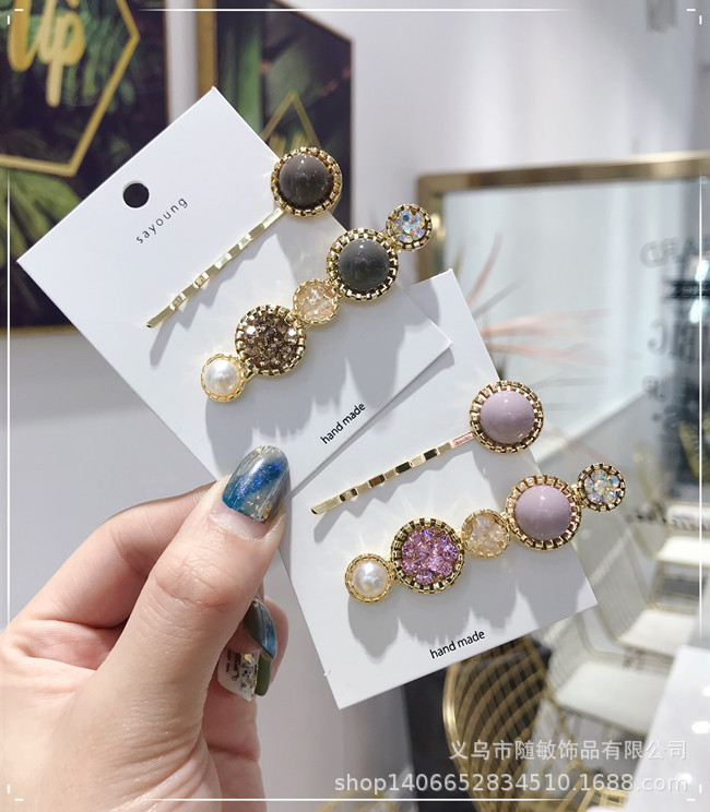 Korean version of the alloy rhinestone super flash candy color hair accessories NHSM135116