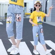 童2019夏装新款女童韩版洋气两个美女7分牛仔裤大儿童裤子代发
