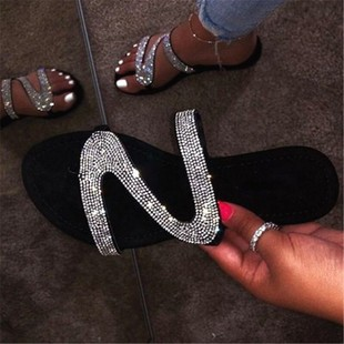 slippers summer new foreign trade flip flops women Europe and America plus size 40-43 rhinestone beach flat cool slippers