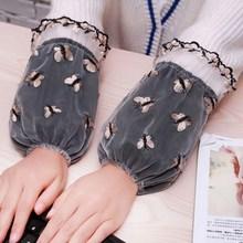 秋冬季透明新款女士双层蕾丝短款护袖套 时尚网纱防污套袖头袖筒