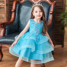 女童禮服裙童裝女孩公主連衣裙小童節日網紗多層裙擺蓬蓬裙現貨