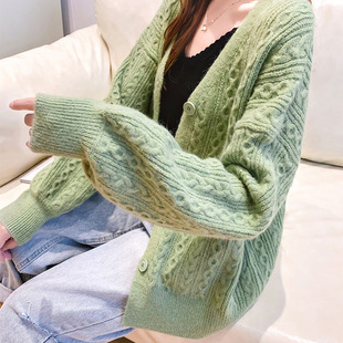 Lazy style small cardigan early autumn thin loose twist short top avocado green college style small shawl