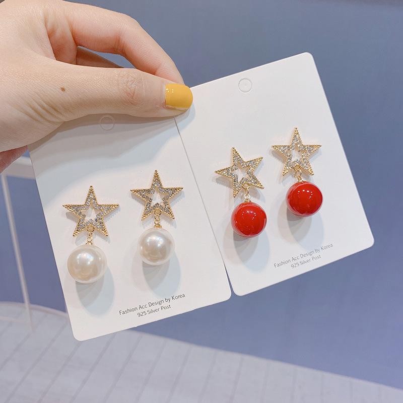 925银针韩国气质镶钻五星珍珠耳环女百搭长款耳坠网红耳钉耳饰品