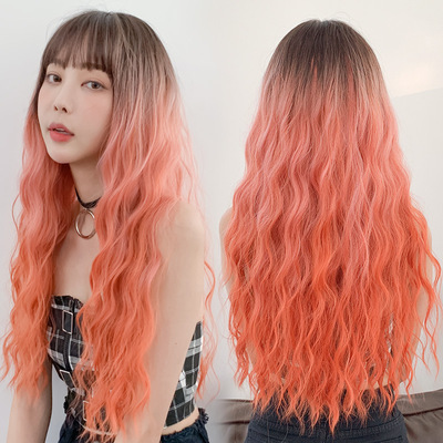 Wavy Hair Wigs Risan tapered long curly hair big wave synthetic wigs real hair women Qi bangs whole top hair set