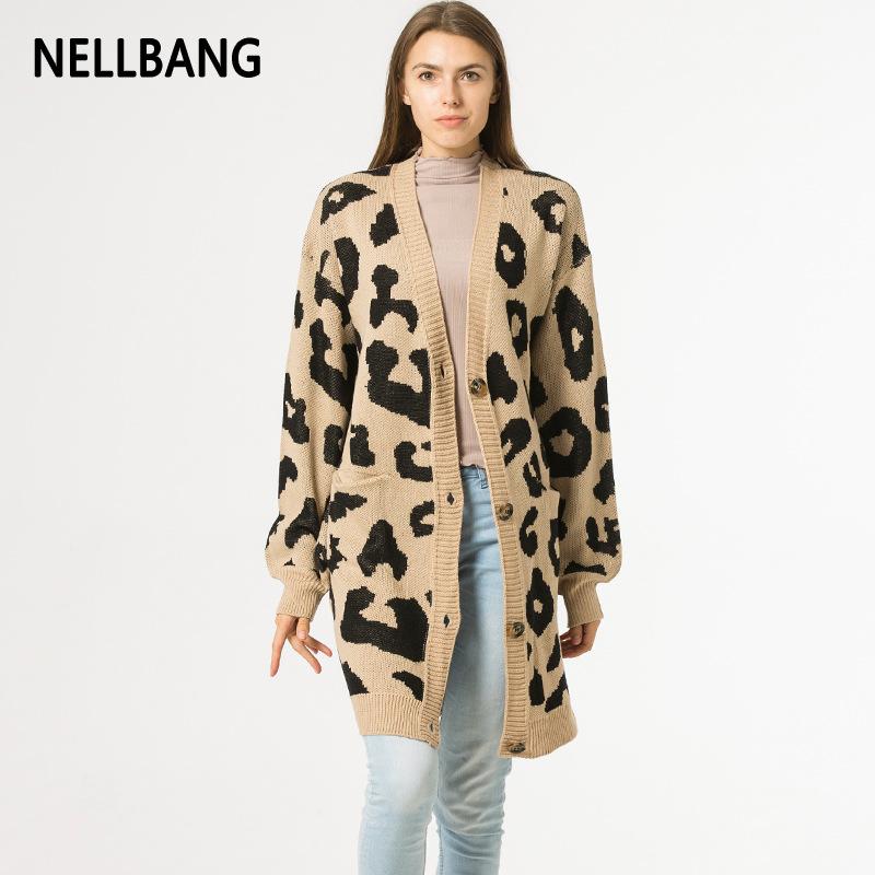 亞馬遜爆款針織衫豹紋開衫毛衣女2019新款跨境 長袖開襟衫 寬松